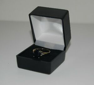 9 Ct Gold Dark Blue Sapphire/ Diamond Dress Ring