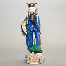 "Antique Chinese Mudman Pottery Statue Man Figure Mudmen Tri-Color Glazed 15.5"""