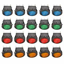20 Stück KFZ Kippschalter Wippschalter beleuchtet rund EIN/AUS 3 PIN 12V 16A