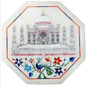 Taj Mahal Replica Inlaid Side Table Top Octagon Marble Coffee Table 12 Inches