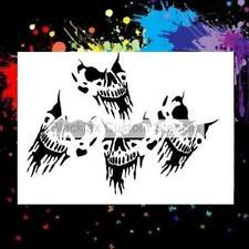 4 Skulls Airbrush Stencil,Template