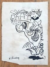 "DIEGO RIVERA -CUERNO DE LA ABUNDANCIA- 13.5""x 9.5"" INK ON  PAPER DRAWING SIGNED"