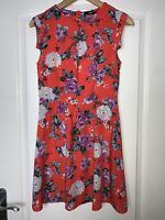 Oasis Coral pink & Purple Floral Summer Tea Dress Size 8