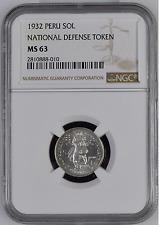 ✔ RARE! 1932 Peru Un Sol Silver National Defense Token NGC MS 63 KM# Tn4