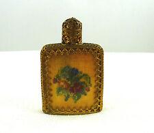 Antique Petit Point,Austrian,Pompadour Glass,Gold Filigree Perfume Bottle