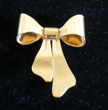 fob chatelaine Brooch gold tone Vintage Avon Ribbon Bow watch pin