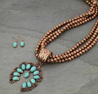 Long Western Cowgirl Copper Squash Blossom Turquoise Necklace Set 32""
