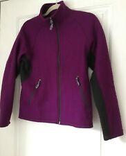 Ibex Wool Zip Up Jacket Blue Zip Pockets Small Purple and Black