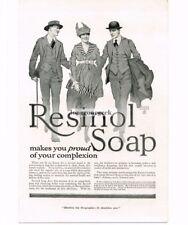 1917 Resinol Soap Fashionable Lady Dapper Men art by John LaGatta  Vtg Print Ad