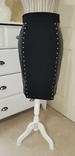 Michael Kors Black Stretch Pencil Skirt w. Faux Leather Panel Gold Stud Sz.L $98