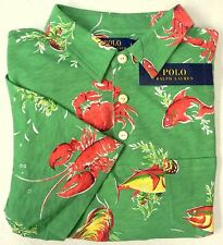 POLO RALPH Lauren Mens Hawaiian Shirt Lobster Crab Fish Green Red Size S NWT