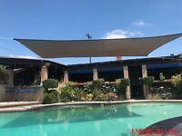 Brown Curved Rectangular Sun Shade Sail UV Blocking Outdoor Canopy Awning Patio