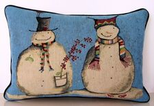 """Winter- Pair Of Snowmen, """"Snowmates"""", Funny Hats & Scarfs Tapestry Pillow New"""
