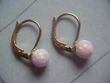 Ohrhänger kurz Gold 585 mit Opal weiß Kugeln 6 mm,Ohrhänger mit Opal in Gold 585