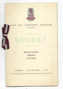 ASTON VILLA FC - 1957 FA Cup Winners Banquet Dinner Menu for Shareholders Assoc.