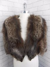 Vintage 1940s Wartime Big Frosted Silver Fox Real Fur Cape Shrug Retro Open Size