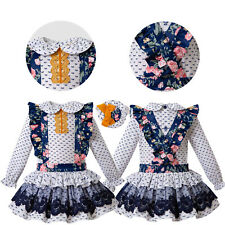 Infant Girls Lace Floral Flower Girls Dress Wedding Party Royal Blue Outfits