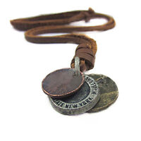 Mens Unisex Great Stunning Charm Choker 3 Coins Pendant Genuine Leather Necklace