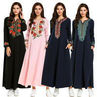 Ethnic Embroidery Abaya Muslim Women Long Maxi Dress Jilbab Party Cocktail Robe