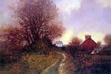 "Raymond Knaub, ""Autumn Bonfire"", poster, 16""h x 24""w image, 19.75""h x 26.5""w"