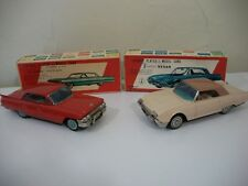 Bandai Tin Friction '61 Cadillac/'61 Thunderbird In Factory Error Original Box