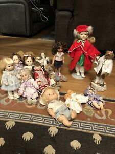 Vintage Lot Of 13 Dolls and 4 Animals