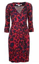 Diane von Furstenberg NEW JULIAN TWO MINI Wrap Dress Cheetah Floral Red Sz 12