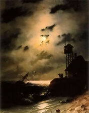 Oil painting aivazovsky - moonlit seascape with shipwreck lighthouse by beach @@