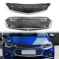 2PCS Front Bumper Upper Grill Middle Lower Grille For Chevrolet Cruze 2016-18 S