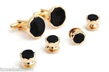 New Real Black Onyx Castle setting Gold Plated cufflinks studs Boxed