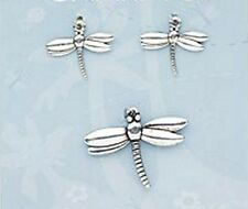 Antiqued Silver Dragonfly Insect Charms Pendants Jewelry Lot of 3