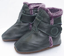 carozoo booties dark green 18-24m soft sole leather baby shoes