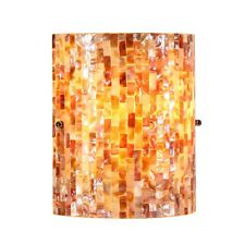 STUNNING MOSAIC NATURAL SEA SHELL STAINED GLASS WALL SCONCE LIGHT LAMP LIGHTING