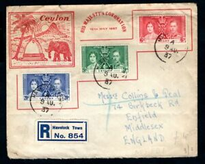 Ceylon - 1937 KGVI Coronation Illustrated Registered Cover
