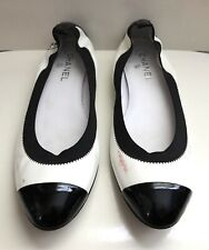 CHANEL White Black Patent Leather Ballet Flats Shoes Size 42 EURO 11.5 US