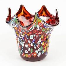 GlassOfVenice Murano Glass Millefiori Mosaic Fazzoletto Vase - Red