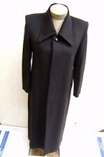 Womens 65% Cashmere Wool Dress Trench Tailor Made Pea Long Coat Jacket M 8 Black