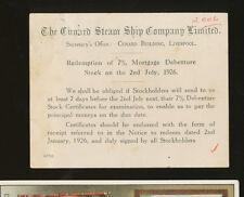 1926 Cunard Steam Ship Company Stockholder Notice / Postcard