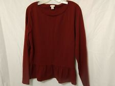 J Crew Woman's Maroon Pull-Over Shirt Size XL