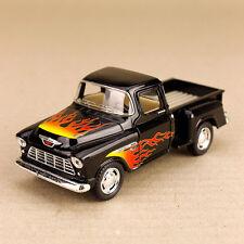 1955 Black Chevrolet Stepside Pickup Ute with Flames 1:32 Scale Die-Cast Model