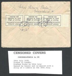 Czechoslovakia censor tape on WW2 1939 cover to England