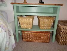 BESPOKE H55 W75 D30cm TV BEDROOM unit stand table EMERALD GREEN warm oak top