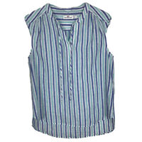 Vineyard Vines Striped Top Small Womens Blue Green White Sleeveless Linen Blend