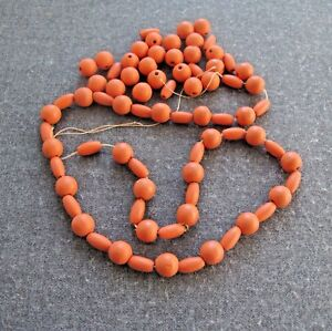 75 VINTAGE 30'S PROBABLY CZECH CORAL COLOR PAINTED WOODEN LOOSE BEADS LOT