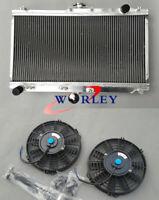 52MM Aluminum Radiator & FANS FOR MAZDA MIATA MX5 1999-2005 2000 2001 2002 03 04