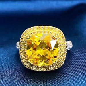 18K White Gold GF Simulated Diamond Cushion Cut Luxury Shoulder Stones Halo Ring