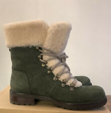 UGG FRASER  LACE UP LEATHER WOMEN'S SHEEPSKIN BOOTS 1018896 SLATE SIZE 9 NEW