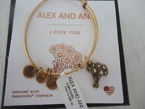 Alex and Ani I PICK YOU Rafaelian Gold Charm Bangle New W/Tag Card & Box