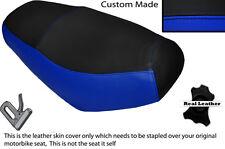 Negro Y Azul Real Custom encaja superbyke Powerband 50 Doble Cuero Funda De Asiento