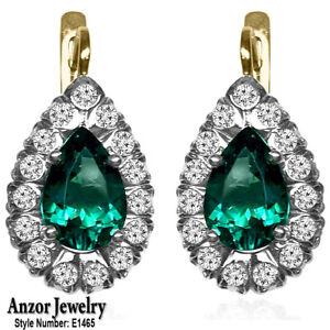 14k Yellow & White Lab Created Emerald Genuine Diamond Russian Style Earrings